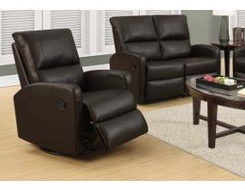 Monarch Swivel Glider Reclining Chair in Dark Brown I8084BR