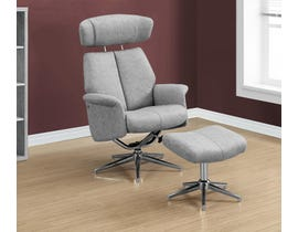 Monarch Recliner in Grey Swivel Adjustable Leather with Headrest in 2-piece set I8139
