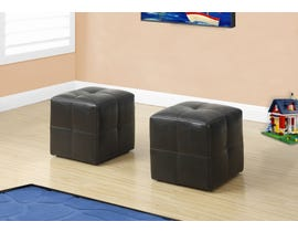 Monarch Ottoman 2Pcs Set Juvenile Dark Brown Leather Look I8160