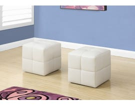 Monarch Ottoman 2Pcs Set Juvenile White Leather Look I8161