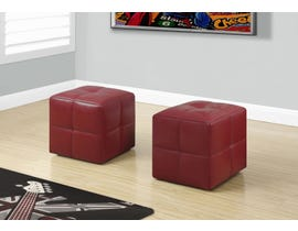 Monarch Ottoman 2Pcs Set Juvenile Red Leather Look I8164