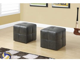 Monarch Ottoman 2Pcs Set Juvenile/ Charcoal Grey Leather Look I8163
