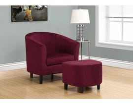Monarch Accent Chair 2 Piece Set Dark Red Floral Velvet 8231