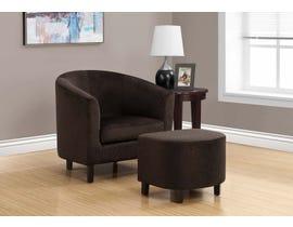 Monarch Accent Chair 2 Piece Set Dark Brown Floral Velvet 8233