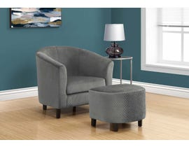 Monarch Accent Chair 2 Piece Set Light Grey Quilted Fabric 8237