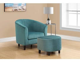 Monarch Accent Chair 2 Piece Set Turquoise Quilted Fabric 8238