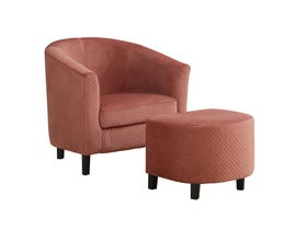 Monarch Accent Chair 2 Piece Set Rose Quilted Fabric 8240