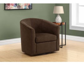Monarch Accent Chair Swivel Dark Brown Abstract Velvet 8270