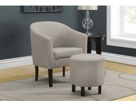 Monarch Geometric Fabric 2pcs Accent Chair Set in Light Grey I8322