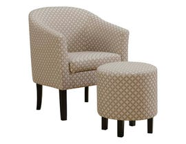 Monarch Geometric Fabric 2pcs Accent Chair Set in Dark Taupe I8323