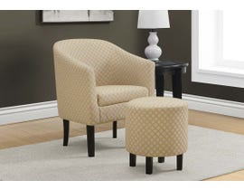 Monarch Geometric Fabric 2pcs Accent Chair Set in Light Yellow I8324