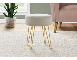 Monarch Fabric Ottoman with Gold Metal Legs in Beige I9000