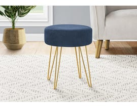 Monarch Fabric Ottoman with Gold Metal Legs in Blue I9002