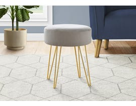 Monarch Fabric Ottoman with Gold Metal Legs in Grey I9003