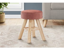 Monarch Velvet Ottoman with Wood Legs in Dark Pink I9007