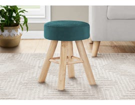 Monarch Velvet Ottoman with Wood Legs in Turquoise I9009