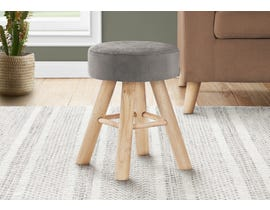 Monarch Velvet Ottoman with Wood Legs in Grey I9010