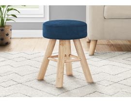 Monarch Velvet Ottoman with Wood Legs in Blue I9011