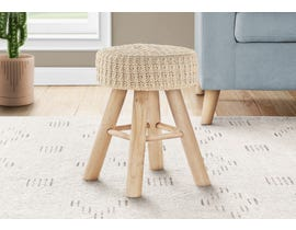 Monarch Knit Ottoman with Wood Legs in Beige I9012