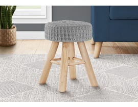 Monarch Knit Ottoman with Wood Legs in Grey I9013
