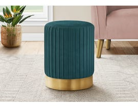 Monarch Velvet Ottoman with Gold Metal Base in Turquoise I9019