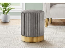 Monarch Velvet Ottoman with Gold Metal Base in Grey I9020
