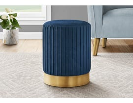 Monarch Velvet Ottoman with Gold Metal Base in Blue I9021