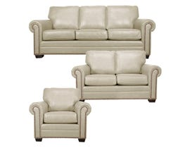 SBF Upholstery Leather Match 3-Piece Sofa Set in Ice 7557
