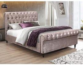 Velvet Sleigh Bed in Lavender IF-195