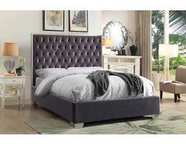Velvet Chrome Platform Bed in Grey IF-5540