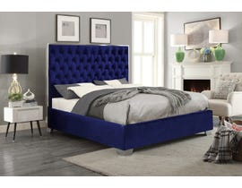 International Furniture Velvet Chrome King Bed in Blue 5541