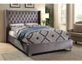 International Furniture Velvet Double Bed in Grey 5890