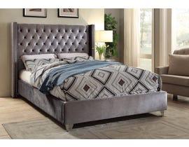 Velvet Platform Bed in Grey IF-5890
