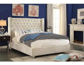 International Furniture Velvet Double Bed in Creme 5892