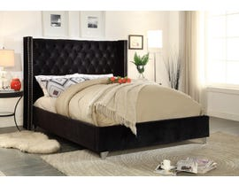 International Furniture Velvet Double Bed in Black 5893
