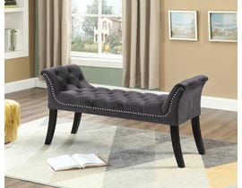 International Furniture Velvet and Metal Bench in Grey IF-6230