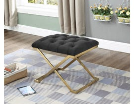 International Furniture Velvet Metal Ottoman/Seat in Black/Gold IF-6281