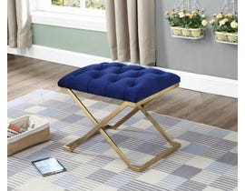 International Furniture Velvet Metal Ottoman/Seat in Blue/Gold IF-6282
