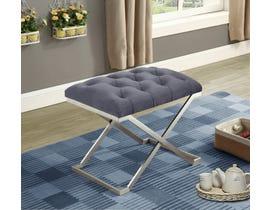 International Furniture Velvet Metal Ottoman/Seat in Grey/Silver IF-6290