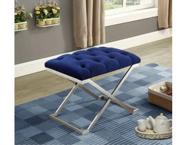 International Furniture Velvet Metal Ottoman/Seat in Blue/Silver IF-6292