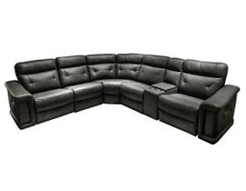 Summit Leather Power Reclining Sectional in Black Leather