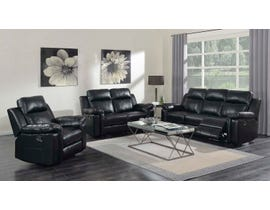 High Society Jamestown 3 Piece Reclining Sofa Set Black