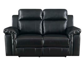 High Society Jamestown Collection Manual Reclining Loveseat in Black UJW120