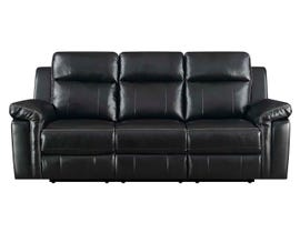 High Society Jamestown Collection Manual Reclining Sofa in Black UJW120