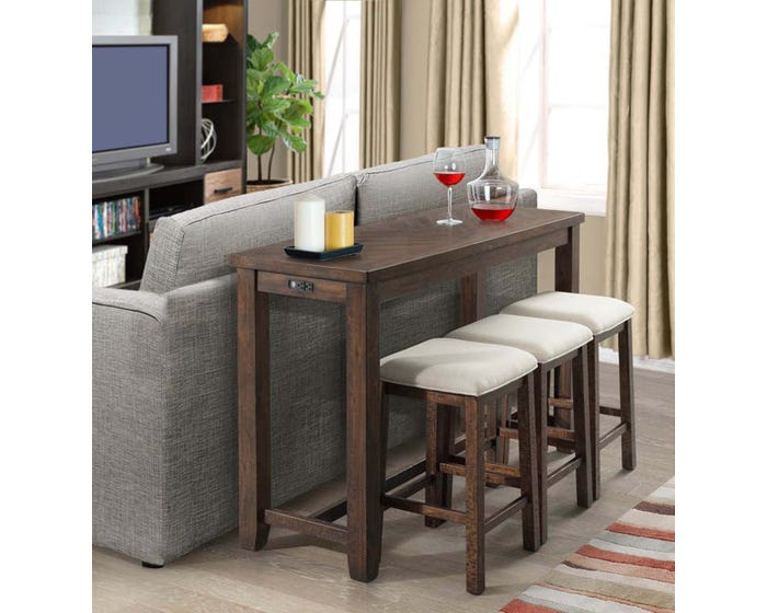 High Society Jax 4 Piece Table Stool Set In Walnut