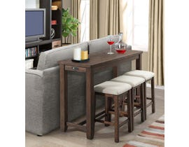 High Society Jax 4-Piece Table Stool Set in Walnut