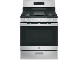 GE 30 inch 5.0 cu.ft. Freestanding Steam Clean 5-Burners Gas Range in Stainless Steel JCGBS66SEKSS