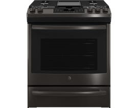 GE Appliances 5.6 Cu. Ft. Slide-In Front Control Gas Range in Black Stainless JCGS760BELTS