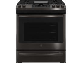 GE Appliances 5.6 Cu. Ft. Slide-In Front Control Gas Range in Black Stainless JCGS760BELTS