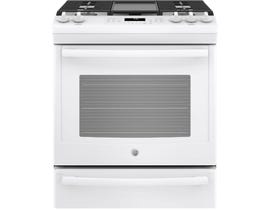 GE Appliances 5.6 Cu. Ft. Slide-In Front Control Gas Range in Premium Blanc JCGS760DELWW